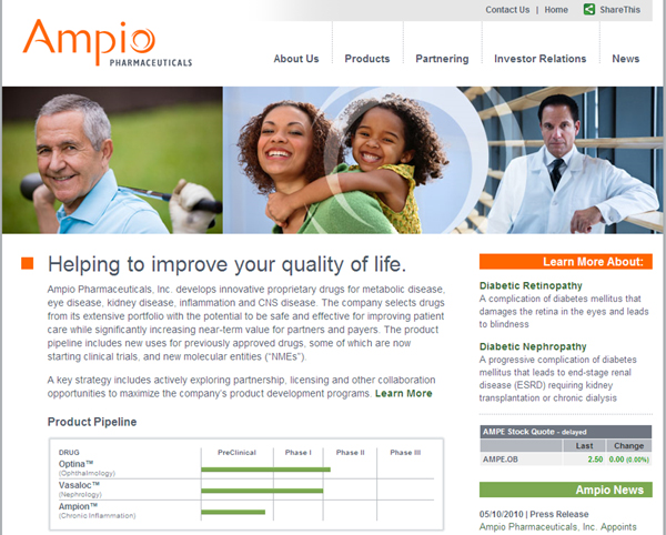 Ampio Pharmaceuticals marketing website