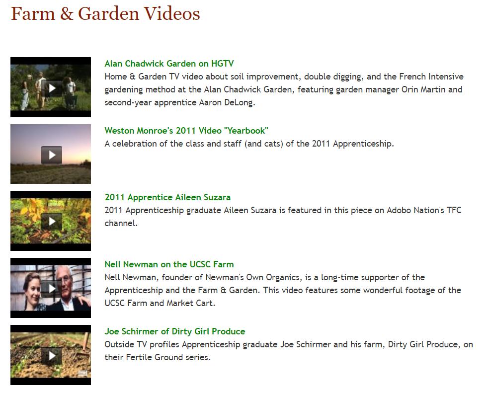 Grow a farmer YouTube and Vimeo videos