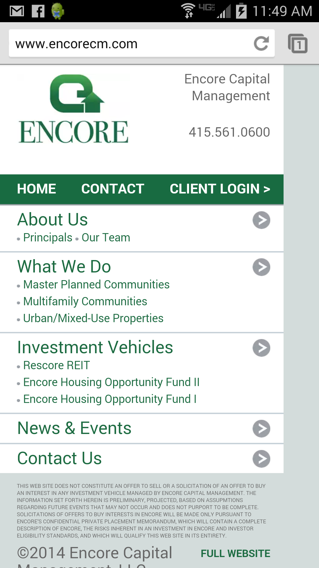 encorecm.com mobile homepage